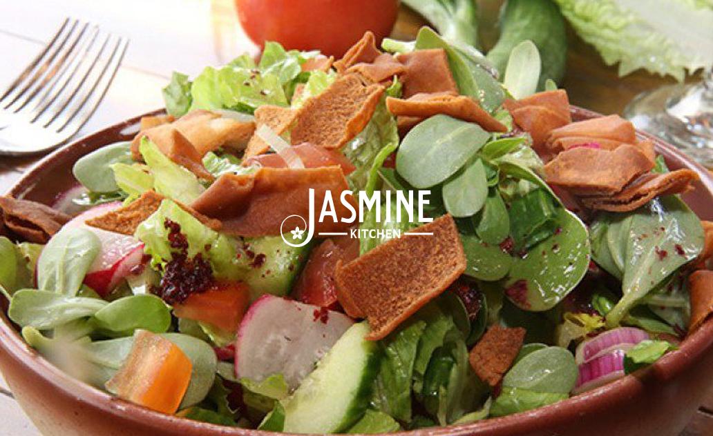 "Fattoush salad (vegan – vegetarian) <abbr title=""Vegetarian"" class=""vegetarianicon"">Ⓥ</abbr> ($3.99)"